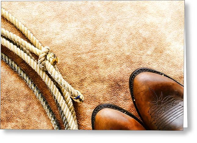 Cowboy Boots And Lasso Greeting Card by Olivier Le Queinec
