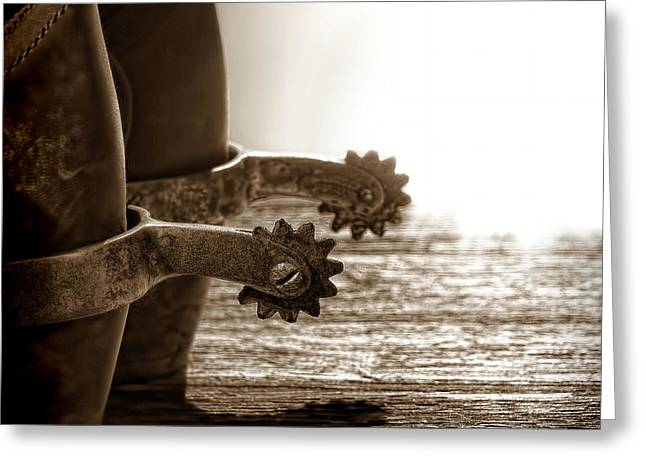 Warm Weather Greeting Cards - Cowboy Boots and Riding Spurs Greeting Card by Olivier Le Queinec