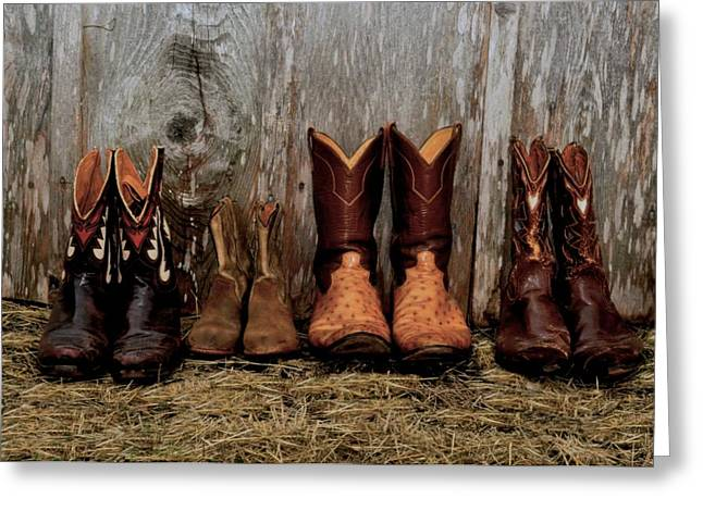 Haystack Framed Prints Greeting Cards - Cowboy Boots and Wood Greeting Card by Kristina Deane