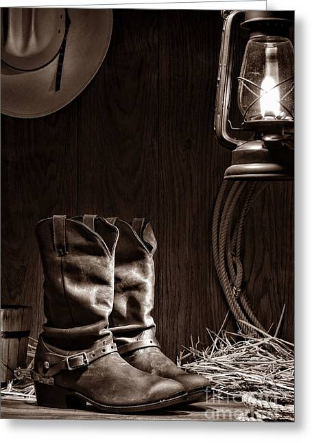 Black Boots Greeting Cards - Cowboy Boots at the Ranch Greeting Card by American West Legend By Olivier Le Queinec