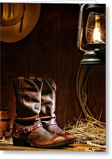 Boot Greeting Cards - Cowboy Boots at the Ranch Greeting Card by Olivier Le Queinec