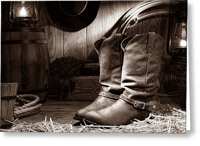Black Boots Greeting Cards - Cowboy Boots in a Ranch Barn Greeting Card by American West Legend By Olivier Le Queinec