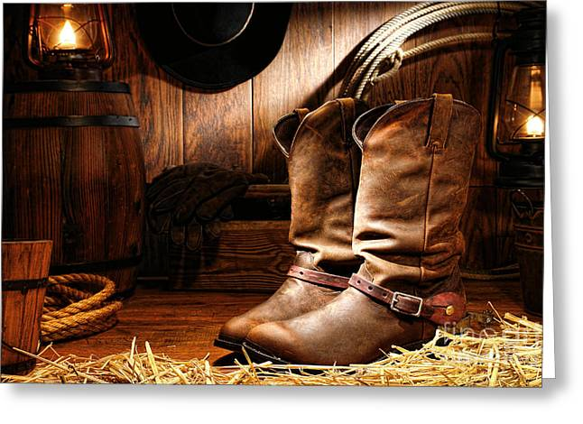Lamp Greeting Cards - Cowboy Boots in a Ranch Barn Greeting Card by Olivier Le Queinec