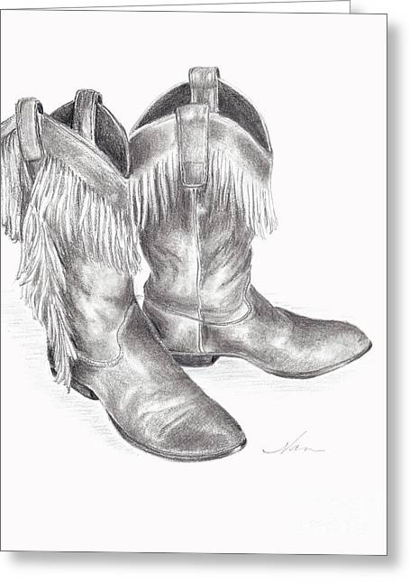 Cowboy Boots In Black And White Greeting Card by Nan Wright