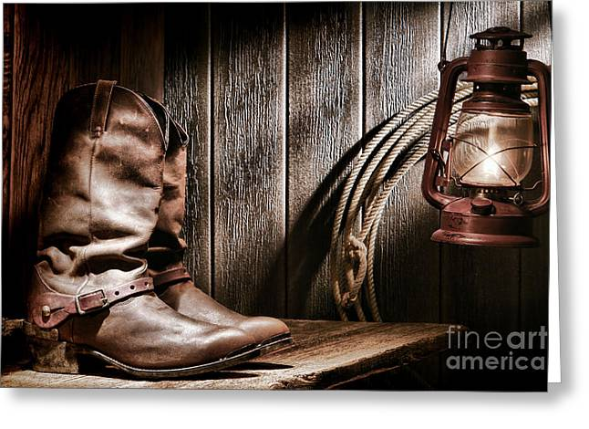 Boot Greeting Cards - Cowboy Boots in Old Barn Greeting Card by Olivier Le Queinec
