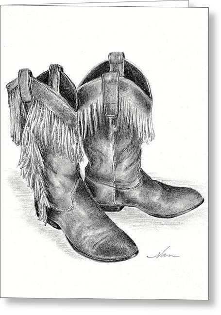 Cowboy Boots Greeting Card by Nan Wright