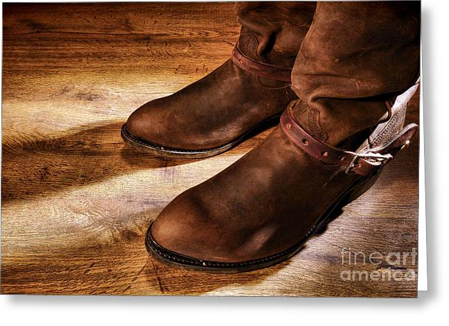 Leather Straps Greeting Cards - Cowboy Boots on Saloon Floor Greeting Card by Olivier Le Queinec