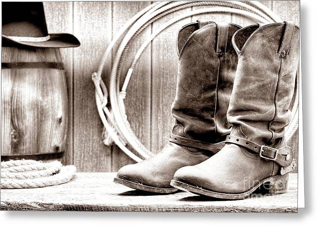 Black Boots Greeting Cards - Cowboy Boots on the Deck Greeting Card by American West Legend By Olivier Le Queinec