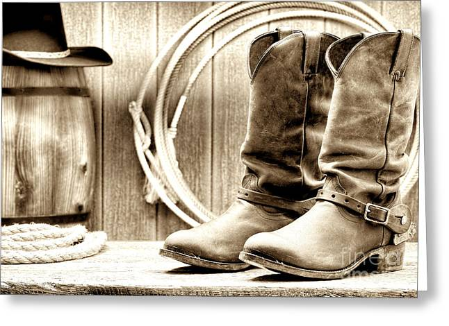 Western Boots Greeting Cards - Cowboy Boots Outside Saloon Greeting Card by Olivier Le Queinec