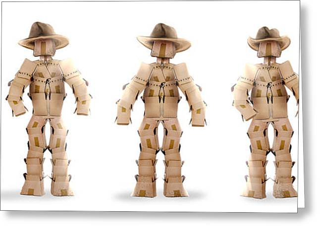 Cardboard Greeting Cards - Cowboy boxmen characters on white Greeting Card by Simon Bratt Photography LRPS