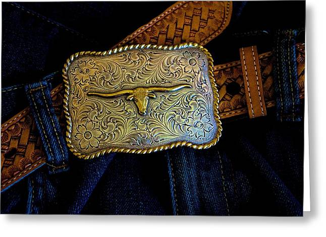 Cowboy Outfit Greeting Cards - Cowboy Buckle Greeting Card by Barbara Zahno