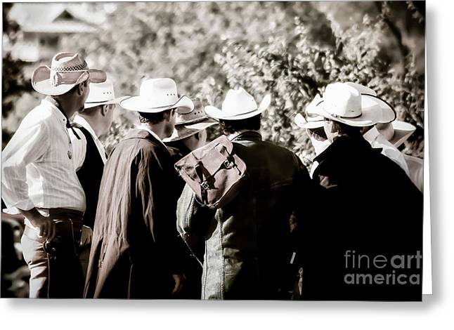 Leather Coat Greeting Cards - Cowboy Bunch Greeting Card by Trish Mistric