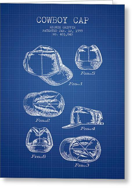 Baseball Cap Greeting Cards - Cowboy Cap Patent - Blueprint Greeting Card by Aged Pixel