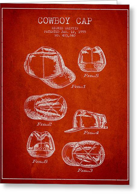 Cowboy Hats Greeting Cards - Cowboy Cap Patent - Red Greeting Card by Aged Pixel