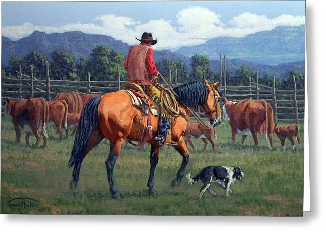 Cattle Drives Greeting Cards - Cowboy Crew Greeting Card by Randy Follis