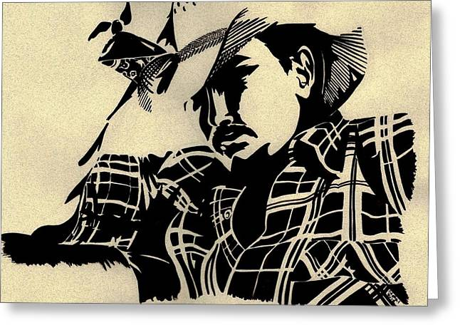 White Flannels Greeting Cards - Cowboy Greeting Card by Cristal Baldwin