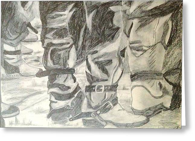 Straps Drawings Greeting Cards - Cowboy Crowd Boot Straps Greeting Card by Diane Phelps