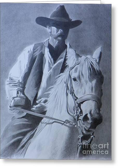 Cowboy Greeting Card by David Ackerson