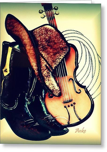 Boots Digital Art Greeting Cards - Cowboy Gear Greeting Card by Anke Wheeler