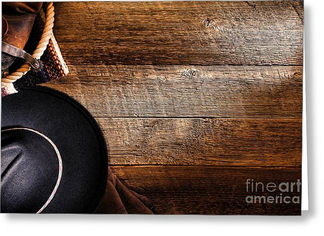 Cowboy Gear On Wood Greeting Card by Olivier Le Queinec