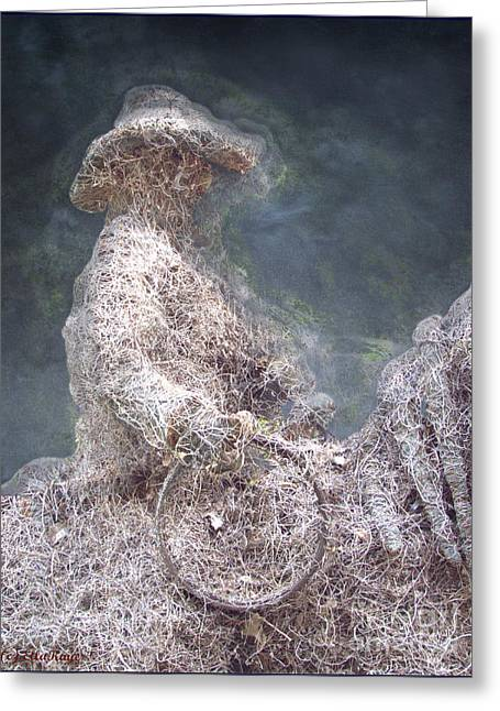 Ghostly Greeting Cards - Cowboy Ghost Rider Greeting Card by Ella Kaye Dickey