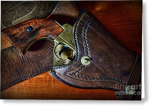 Law Enforcement Greeting Cards - Cowboy Gun in Holster Greeting Card by Paul Ward