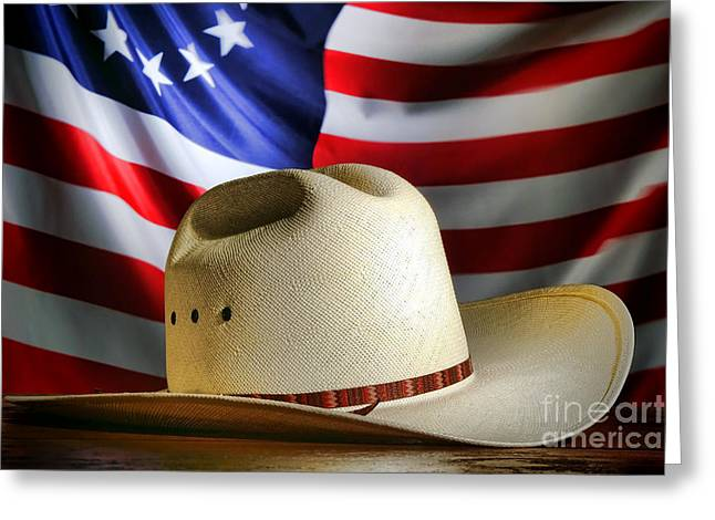 Cowboy Hat And American Flag Greeting Card by Olivier Le Queinec