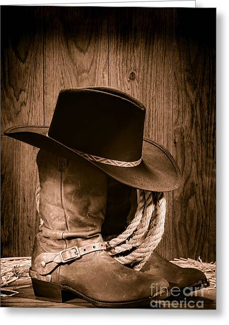 Old Hat Greeting Cards - Cowboy Hat and Boots Greeting Card by Olivier Le Queinec