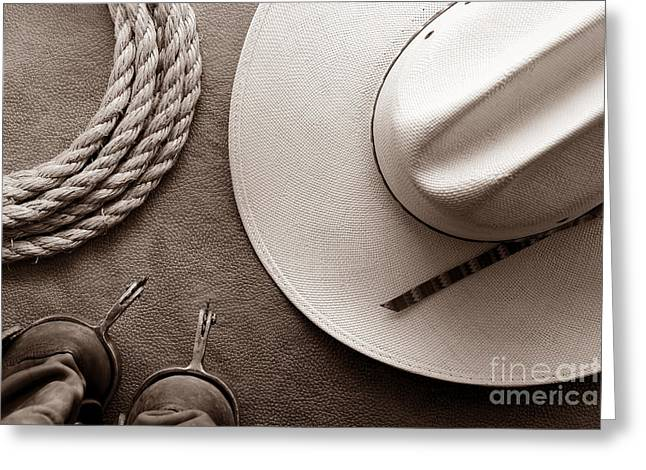 Black Boots Greeting Cards - Cowboy Hat and Boots with Rope Greeting Card by American West Legend By Olivier Le Queinec
