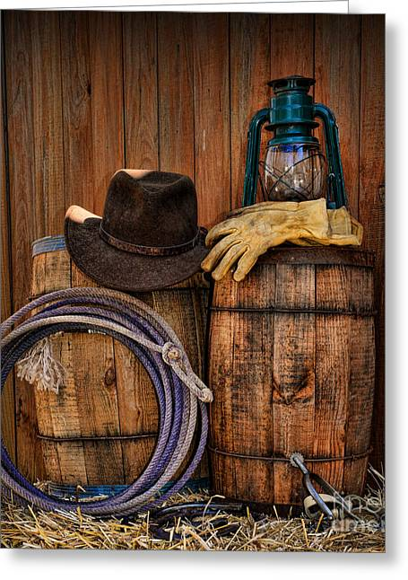 Charro Hat Greeting Cards - Cowboy Hat and Bronco Riding Gloves Greeting Card by Paul Ward