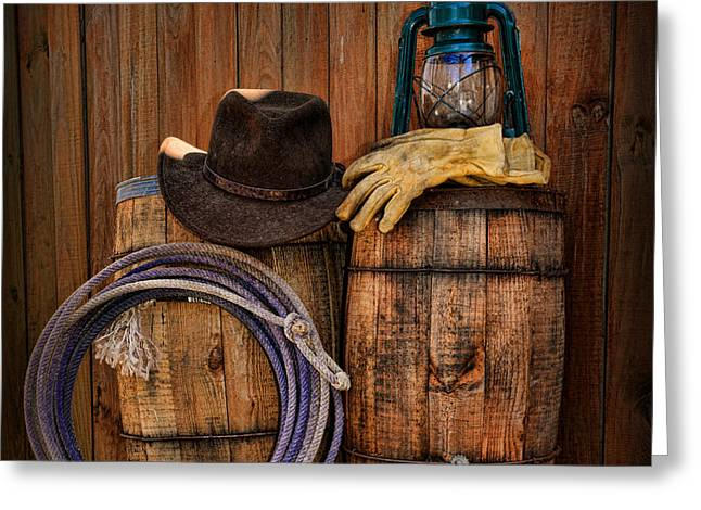 Cowboy Hat and Bronco Riding Gloves Greeting Card by Paul Ward