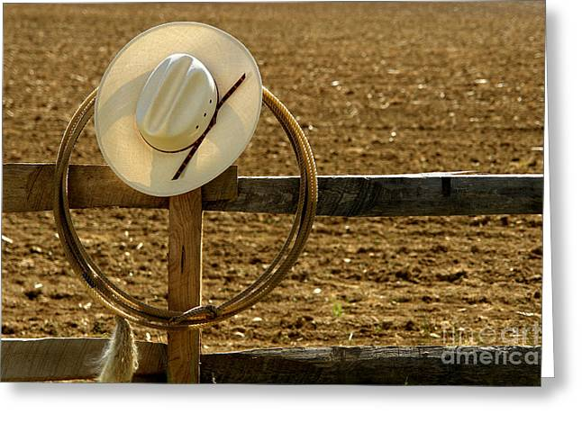 Western Greeting Cards - Cowboy Hat and Lasso on Fence Greeting Card by Olivier Le Queinec