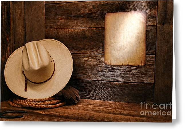 Notice Greeting Cards - Cowboy Hat and Old Notice Greeting Card by Olivier Le Queinec