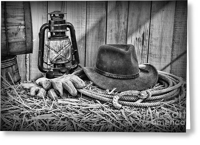 Charro Hat Greeting Cards - Cowboy Hat and Rodeo Lasso in a black and white Greeting Card by Paul Ward