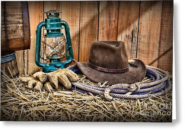 Charro Hat Greeting Cards - Cowboy Hat and Rodeo Lasso Greeting Card by Paul Ward
