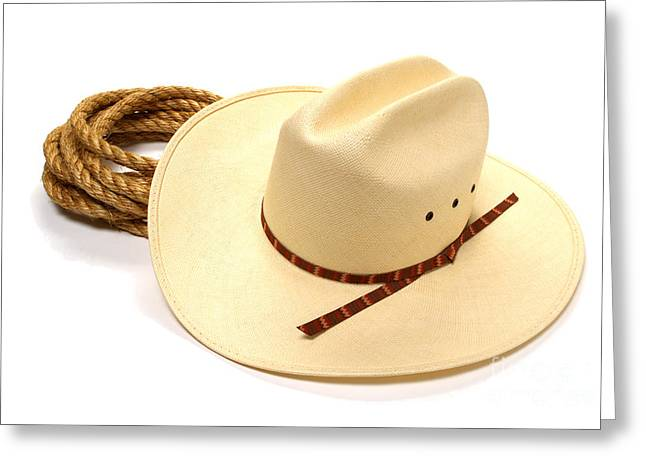 Rope Greeting Cards - Cowboy Hat and Rope Greeting Card by Olivier Le Queinec