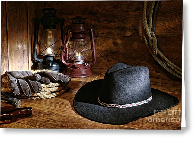 Kerosene Lamp Greeting Cards - Cowboy Hat and Tools Greeting Card by Olivier Le Queinec