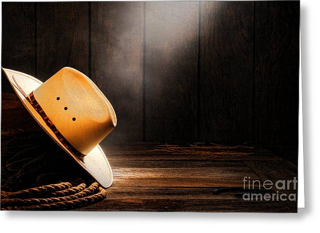 Smoky Greeting Cards - Cowboy Hat in Sunlight Greeting Card by Olivier Le Queinec