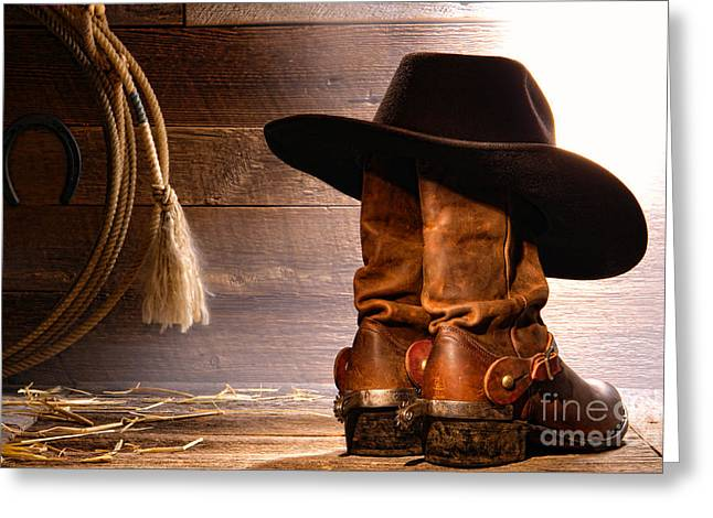 Old Hat Greeting Cards - Cowboy Hat on Boots Greeting Card by Olivier Le Queinec
