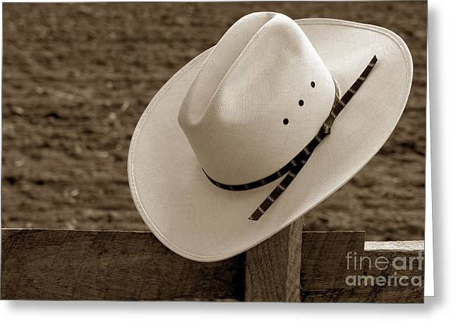 Western Greeting Cards - Cowboy Hat on Fence Greeting Card by Olivier Le Queinec