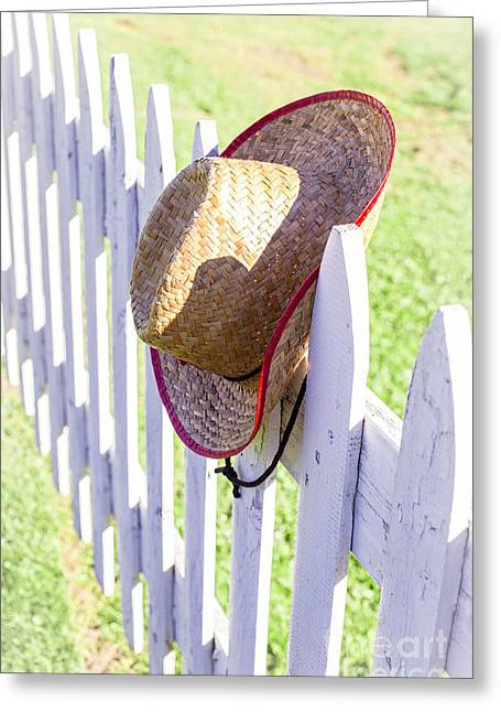 Pretending Greeting Cards - Cowboy Hat On Picket Fence Greeting Card by Edward Fielding
