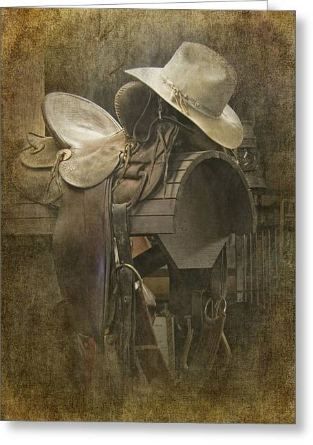 Equestrian Prints Photographs Greeting Cards - Cowboy Hat on Western Horse Saddle Greeting Card by Randall Nyhof