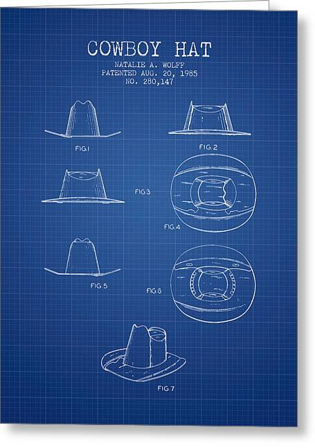 Cowboy Hats Greeting Cards - Cowboy Hat Patent from 1985 - Blueprint Greeting Card by Aged Pixel