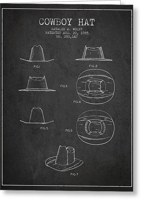 Cowboy Hats Greeting Cards - Cowboy Hat Patent from 1985 - Charcoal Greeting Card by Aged Pixel