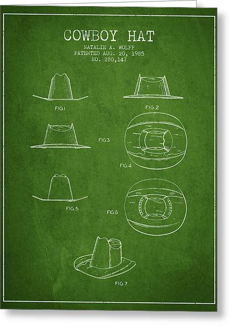 Cowboy Hats Greeting Cards - Cowboy Hat Patent from 1985 - Green Greeting Card by Aged Pixel