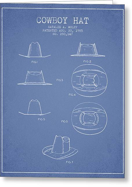 Cowboy Hats Greeting Cards - Cowboy Hat Patent from 1985 - Light Blue Greeting Card by Aged Pixel