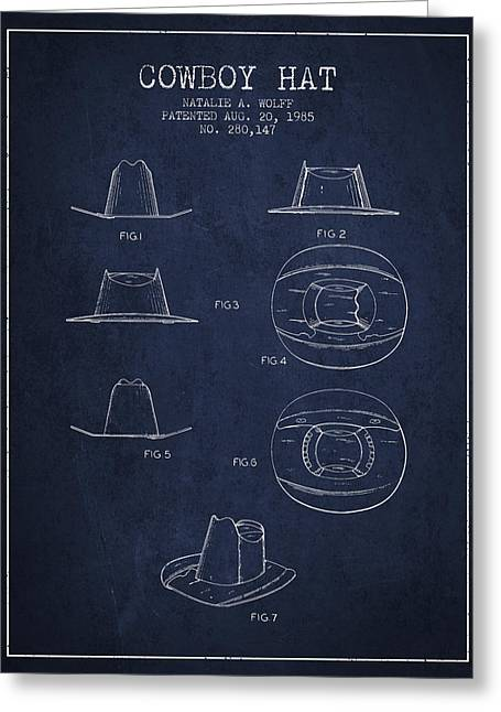 Cowboy Hats Greeting Cards - Cowboy Hat Patent from 1985 - navy Blue Greeting Card by Aged Pixel