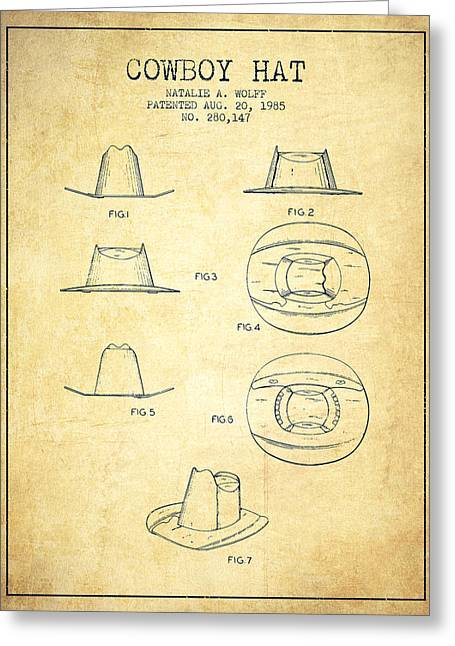 Cowboy Hats Greeting Cards - Cowboy Hat Patent from 1985 - Vintage Greeting Card by Aged Pixel