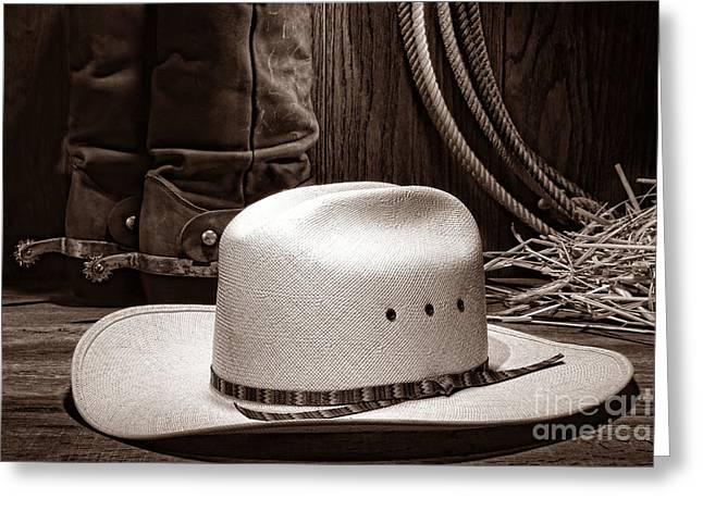 Black Boots Greeting Cards - Cowboy Hat with Western Boots Greeting Card by American West Legend By Olivier Le Queinec