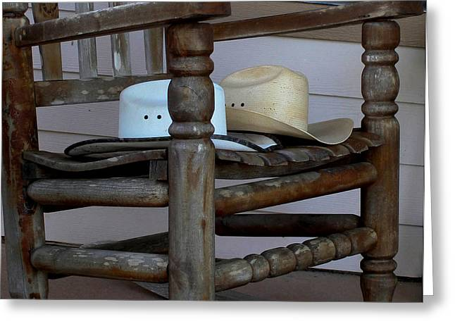Western Themed Greeting Cards - Cowboy Hats in a Chair Greeting Card by Mechala  Matthews